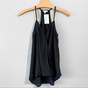 Lily White Chiffon Tank Blouse Black Size XS NWT